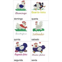 Pacote de Bordado Galinha - Semaninha - 02 Tamanhos