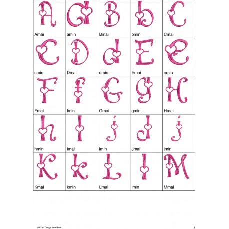 Alfabeto LD Valentine - Completo - Maiúsculas e Minúsculas