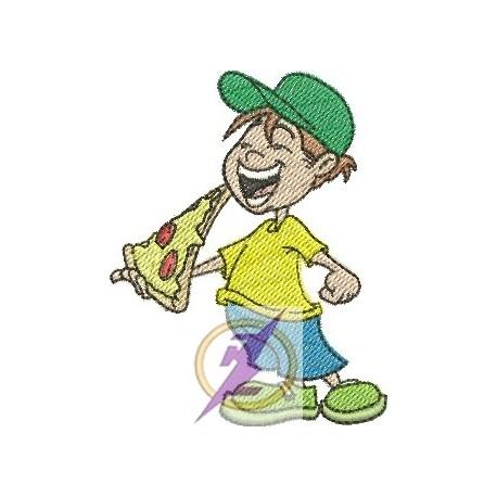 Menino Comendfo Pizza